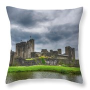 Caerphilly Castle North View 3 Throw Pillow