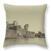 Caerphilly Castle Panorama Antique Throw Pillow