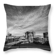 Caerphilly Castle Panorama Mono Throw Pillow