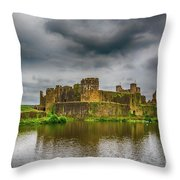 Caerphilly Castle South East View 1 Throw Pillow