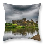 Caerphilly Castle South East View 2 Throw Pillow
