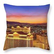 Caesars Palace After Sunset Throw Pillow