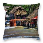 Cafe Beach Bucerias Mexico Throw Pillow