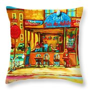 Cafe Coin Des Artistes Throw Pillow
