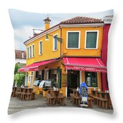 Cafe In Burano Throw Pillow