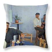 Cafe In Greece Throw Pillow