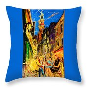 Cafe Of Amsterdam At Night  Throw Pillow