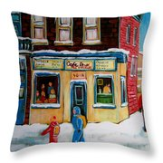 Cafe St. Viateur Montreal Throw Pillow