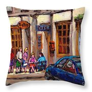 Outdoor Cafe Painting Vieux Montreal City Scenes Best Original Old Montreal Quebec Art Throw Pillow