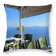 Cafe' With A View Throw Pillow