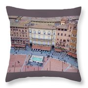 Cafes Of Il Campo In Siena Italy Throw Pillow