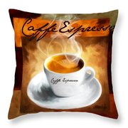 Caffe Espresso Throw Pillow by Lourry Legarde