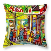 Caffe Italia And Milano Charcuterie Montreal Watercolor Streetscenes Little Italy Paintings Cspandau Throw Pillow