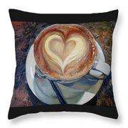 Caffe Vero's Heart Throw Pillow