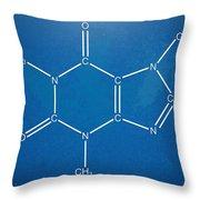 Caffeine Molecular Structure Blueprint Throw Pillow