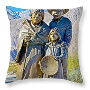 Cahuilla Band Of Agua Caliente Indians Sculpture On Tahquitz Canyon Way In Palm Springs-california Throw Pillow
