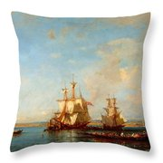 Caiques And Sailboats At The Bosphorus Throw Pillow