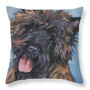 Cairn Terrier Brindle Throw Pillow by Lee Ann Shepard