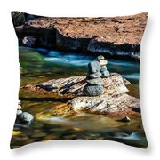 Cairns In The Creek Throw Pillow