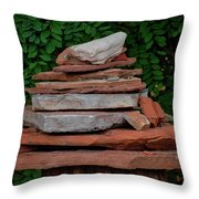 Cairns Rock Trail Marker Bluff Utah 01 Throw Pillow