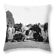 Cairo: Group Of Camels Throw Pillow