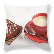 Cake And Cup Of Coffee Throw Pillow