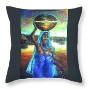 Calabash Lady In Blue Throw Pillow