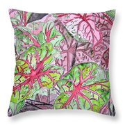 Caladiums Tropical Plant Art Throw Pillow