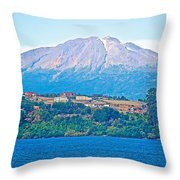 Calbuco Volcano Over Llanquihue Lake From Puerto Varas-chile Throw Pillow