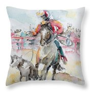 Calf Roping Throw Pillow