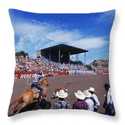 Calf Roping Event At Ellensburg Rodeo Throw Pillow