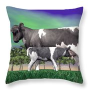 Calf Suckling - 3d Render Throw Pillow