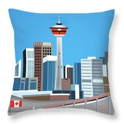 Calgary Alberta Canada Vertical Skyline Throw Pillow