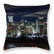 Calgary Skyline At Night Throw Pillow