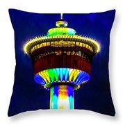 Calgary Tower At Night Throw Pillow