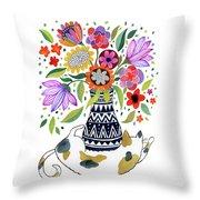 Calico Bouquet Throw Pillow