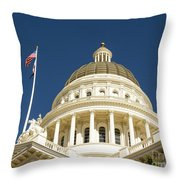 California Capitol Cupola And Flag Throw Pillow