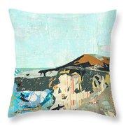 California Coast Collage Throw Pillow