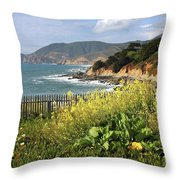 California Coast With Wildflowers And Fence Throw Pillow