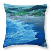 California Coastline Impressionism Throw Pillow