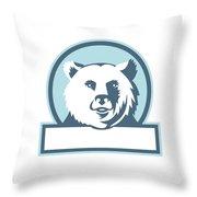 California Grizzly Bear Head Smiling Circle Retro Throw Pillow