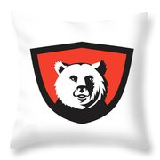 California Grizzly Bear Head Smiling Crest Retro Throw Pillow