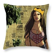 California Hyna Queen Throw Pillow