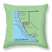California Lighthouse Map Throw Pillow by Christine Till