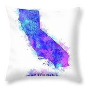 California Map Watercolor 2 Throw Pillow