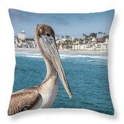 California Pelican Throw Pillow by John Wadleigh