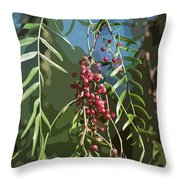 California Pepper Tree Leaves Berries Abstract Throw Pillow