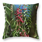 California Pepper Tree Leaves Berries I Throw Pillow