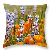 California Poppies And Lupine Wildflowers Throw Pillow