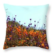 California Poppies And Wildflowers Throw Pillow
